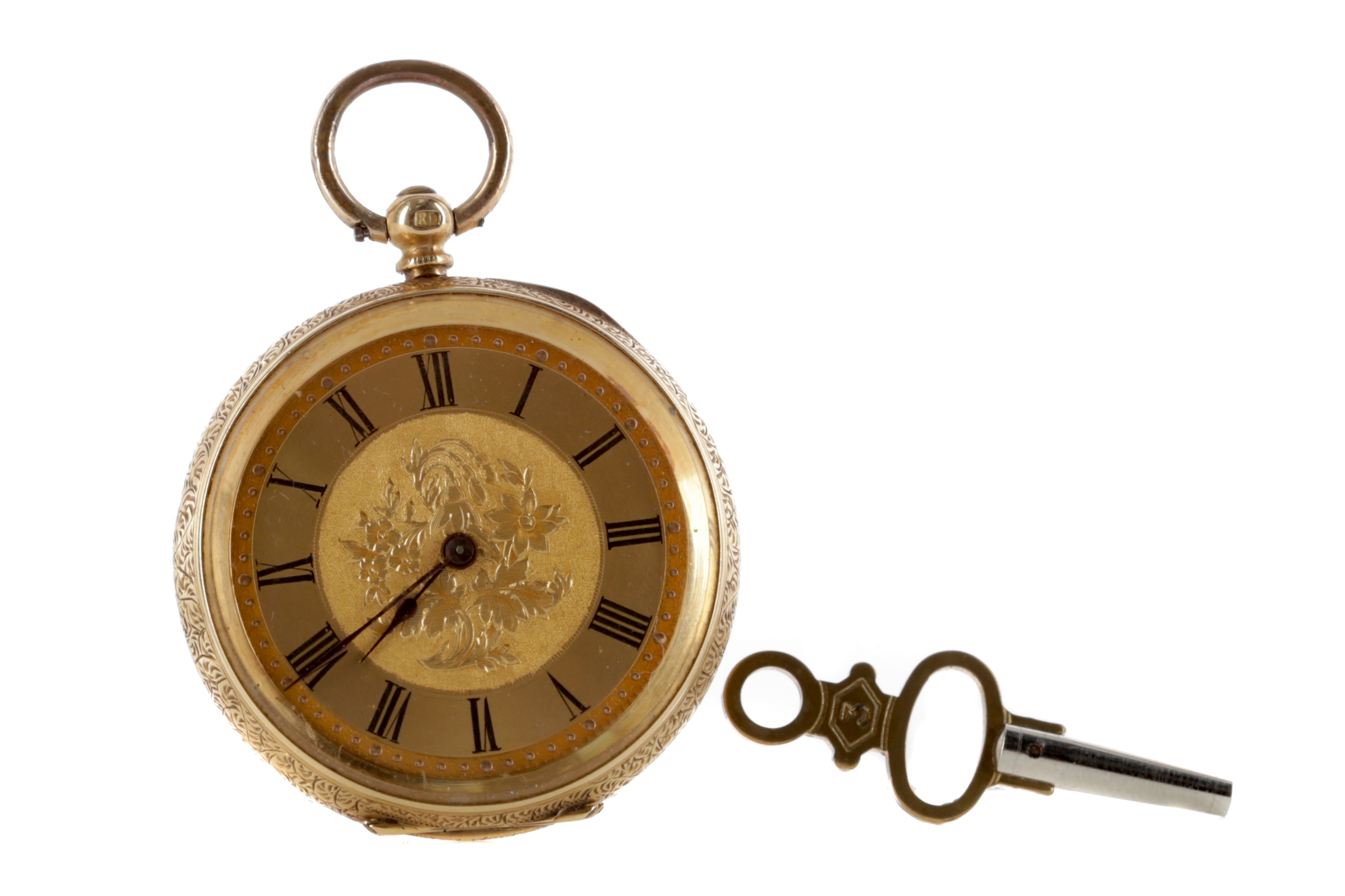 AN EIGHTEEN CARAT GOLD OPEN FACE KEY WIND FOB WATCH