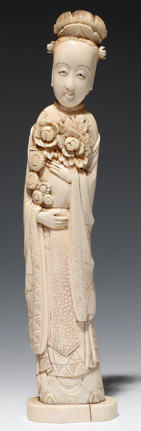 Lot 277 - A CHINESE IVORY CARVING OF GUANYIN, 28CM H, LATE 19TH C