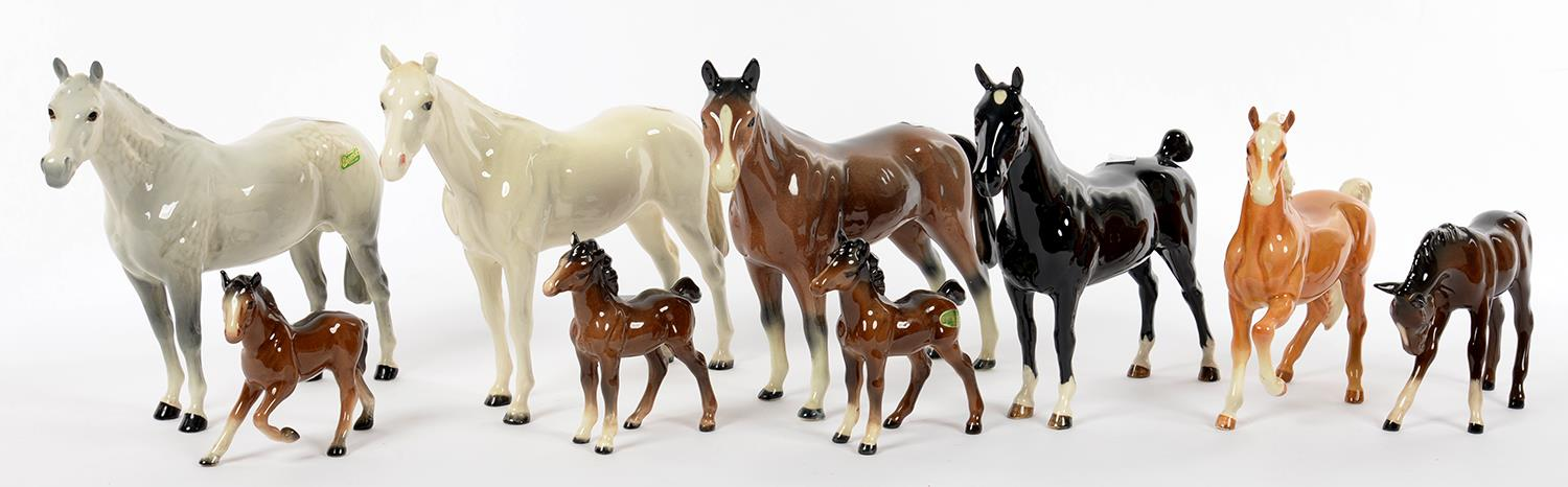 Lot 229 - FOUR BESWICK HORSES AND TWO FOALS, AND THREE OTHER SIMILAR MODELS OF HORSES AND FOALS, VARIOUS