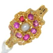 A RUBY, PEARL AND GOLD CANNETILLE RING, MID 19TH C, ON TWISTED WIRE BAND, UNMARKED, 1.8G, SIZE P½