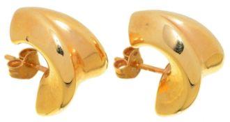 A PAIR OF 18CT GOLD EARRINGS, 17MM, IMPORT MARKED, DATE LETTER INDISTINCT, 3.5G Good condition