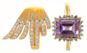 AN OBLONG STEP CUT AMETHYST AND DIAMOND CLUSTER RING, IN 9CT GOLD AND A DIAMOND DRESS RING IN
