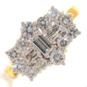 A DIAMOND CLUSTER RING WITH THREE LARGER CENTRAL EMERALD CUT DIAMONDS, IN 18CT GOLD, LONDON 2001,