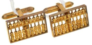 A PAIR OF GOLD ABACUS CUFFLINKS, 13 X 22MM, MARKED 14K, 9.2G Good condition