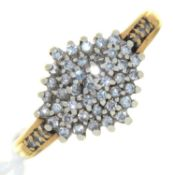 A DIAMOND CLUSTER RING, 9CT GOLD HOOP, 3.6G, SIZE O Dirty but in otherwise good condition