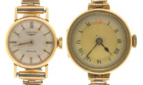 AN 18CT GOLD LADY'S WRISTWATCH ON PLATED BRACELET AND A SMALLER LONGINES 9CT GOLD LADY'S