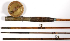 A VINTAGE BAMBOO FISHING ROD WITH MILBRO BRASS 2¾ FISHING REEL, EARLY 20TH C Wear consistent with