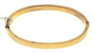 A VICTORIAN 15CT GOLD BANGLE, 62MM, BIRMINGHAM 1898, 7.2G Light scratches from wear, closing