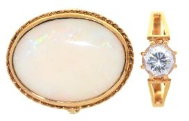 AN OPAL RING, IN 9CT GOLD, AND A WHITE STONE SOLITAIRE RING, IN 9CT GOLD,  5.4G,  SIZES L & M Good