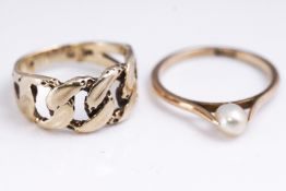 A collection of two rings to include: A 9ct gold (stamped) single stone pearl ring,