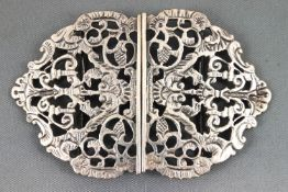 A cast and chased silver openwork belt buckle in the scrolling foliate baroque style, Chester 1894,