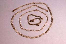 A yellow gold Figaro chain necklace; A yellow gold Figaro bracelet; A yellow gold rope bracelet.