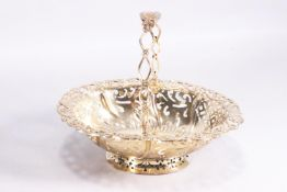 A small silver gilt sweetmeat basket of oval form with pierced panel body