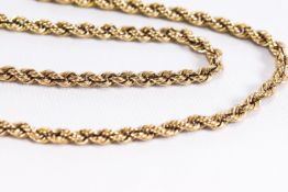 A yellow metal hollow rope link chain, bolt ring clasp, 630mm. Hallmarked 9ct gold.
