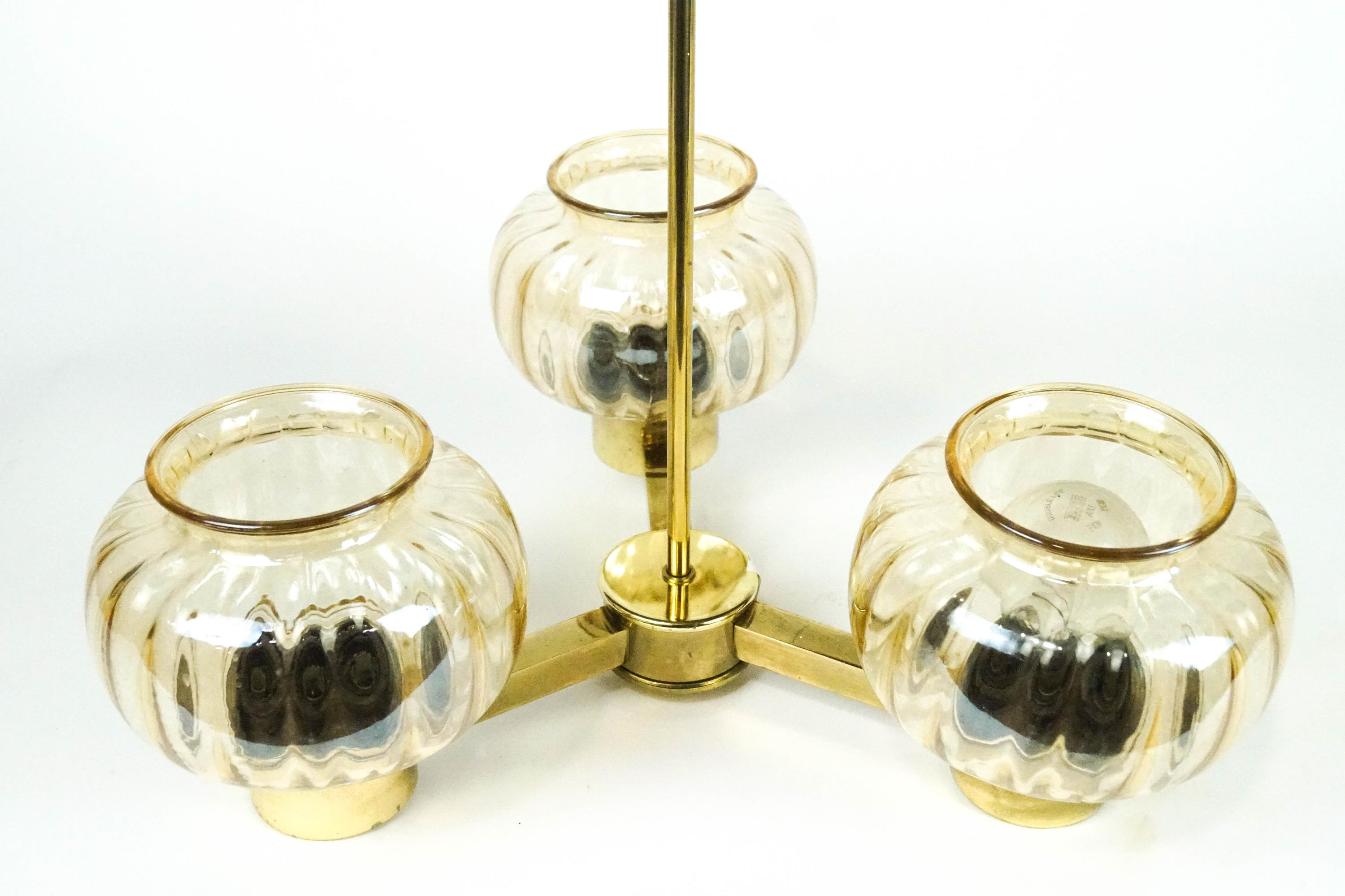 Lot 54 - A pair of three light hanging pendant lights,