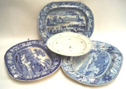 Three 19th century blue painted plates and a Vienna porcelain bowl