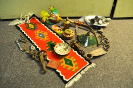 A brass horn and other items