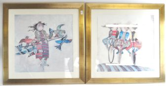 After G Rodo Boulanger, Children, a pair of coloured prints,