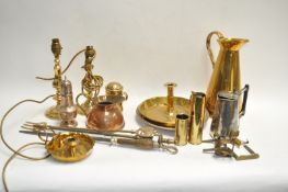 A group of brass and copper ware,