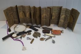 A box of assorted small items, including watches, jewellery, thimbles, socle, magnifying glass,