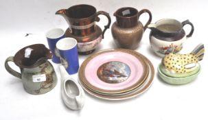 A Staffordshire pottery hen on nest,