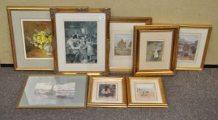 Three Helen Allingham prints and other prints