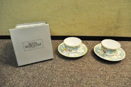 Two Royal Worcester cups and saucers