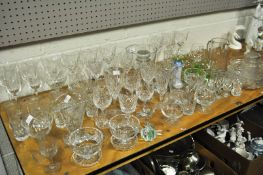 A set of eight cut glass wine glasses and other cut glass