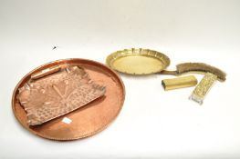 An Arts and Crafts copper crumb tray and other metalware