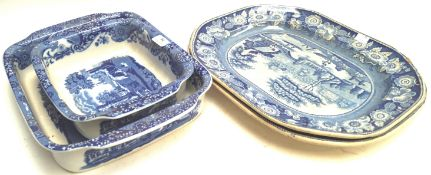 Two 19th century blue printed meat platters and two Copeland Spode Italian pattern serving dishes