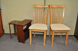 Two wooden chairs,