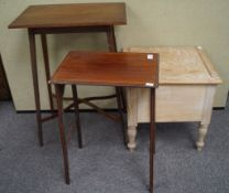 A pine commode and two Edwardian mahogany tables