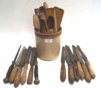 A group of 19th century kitchen knives and other items