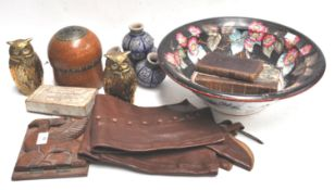 A pair of brass owls and other items