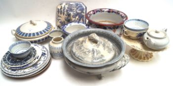 A 19th century Staffordshire pottery jug and other ceramics