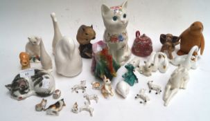 A quantity of figures of cats including one from the Brixworth Pottery,
