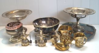 Two silver tazzas and plated ware