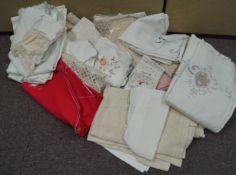 A quantity of table linen