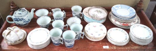 A Chinese porcelain part tea service and other items