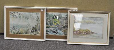 Elizabeth Mitchell, Coastal scene, watercolour,