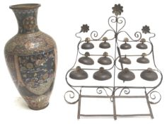 A cloisonne vase and standing bells