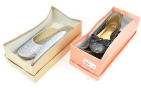 Two pairs of ladies evening shoes,