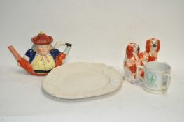 A pair of Staffordshire pottery dogs and other ceramics