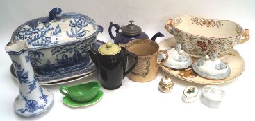 A quantity of 19th century and later ceramics,