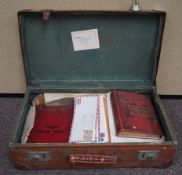 A suitcase containing stamps