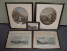 A pair of hand coloured lithographs of Sidmouth and other prints
