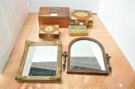 A mahogany swing frame mirror,