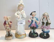 Four 19th century Continental porcelain figures
