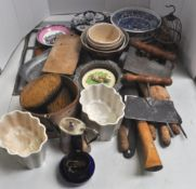 Two jelly moulds and other kitchenware