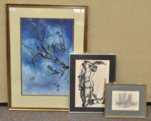 Issitt, Cherry tree branch, watercolour and body colour, together with two other pictures,